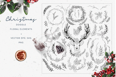 Christmas Doodle Floral Elements ~ Vector EPS, SVG, PNG, AI Brushes
