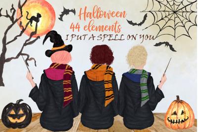Halloween Girls Clipart Fall backdrop, Witch hat, Mug design