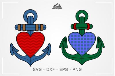 Anchor Heart Love Svg Design