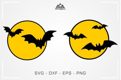 Bats & Moon Halloween Svg Design