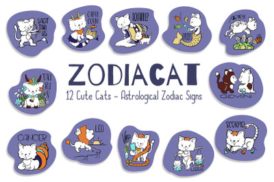 Astrological Zodiac Signs Cute Cat Vector Set