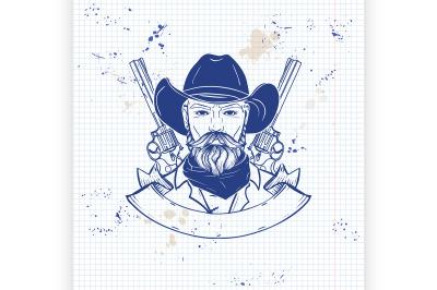 Hand drawn sketch cowboy