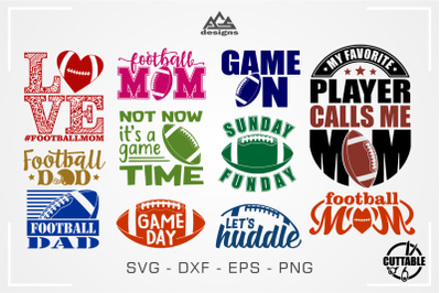 Football Mom-Dad American Footbal Quotes Bundle  Svg Design