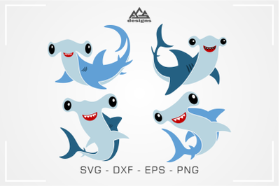 Cute Hammer Head Shark Svg Design
