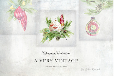 Vintage Christmas Watercolor Decor