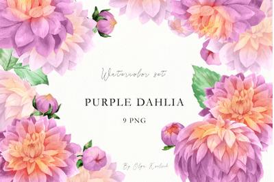 Watercolor Purple Dahlia Clipart