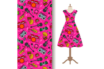 Dress fabric pattern with music instruments