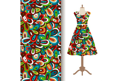 Dress fabric with floral doodle pattern