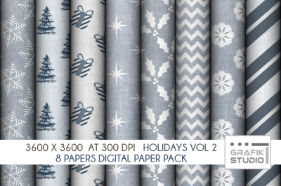 Christmas Holidays Digital Papers Pack VOLUME 2, Seamless Pattern Paper Pack, Seamless Pattern