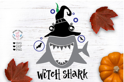 Witch Shark Funny Halloween T-shirt Design