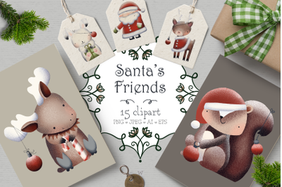 Christmas clipart,. woodland animal clipart, Holiday clipart