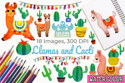 Llamas and Cacti Watercolor Clipart, Instant Download