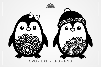 Cute Penguin Mandala Svg Design