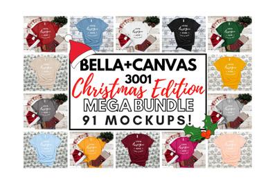 Xmas Bella Canvas 3001 T-Shirt Mockup Mega Bundle Festive Style