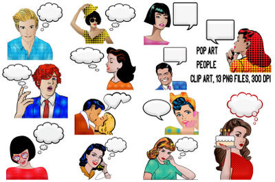 Pop Art Comic People with Empty Speech Bubbles Clip Art
