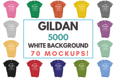 Gildan 5000 Masculine Unisex T-Shirt Mockup Bundle On White