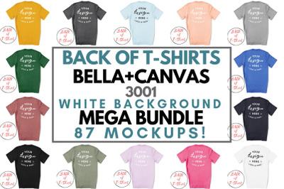 Back Of T-Shirt Bella Canvas 3001 Unisex Mockup Mega Bundle On White