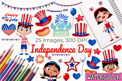 Independence Day Watercolor Clipart, Instant Download