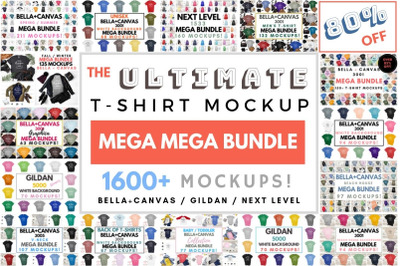 The Ultimate TShirt Mockup Mega Bundle, Bella Canvas Next Level Gildan