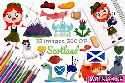 Scotland Watercolor Clipart, Instant Download Vector Art