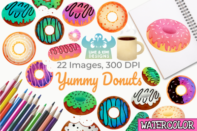 Yummy Donuts Watercolor Clipart, Instant Download Vector Art