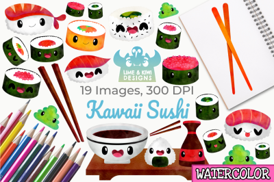 Kawaii Sushi Watercolor Clipart, Instant Download Vector Art