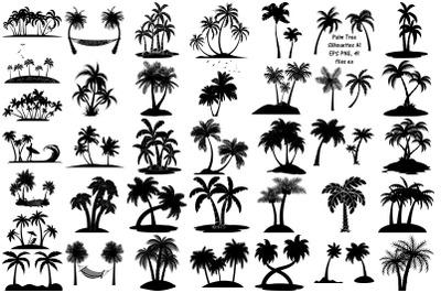 Palm Tree Silhouettes AI EPS PNG