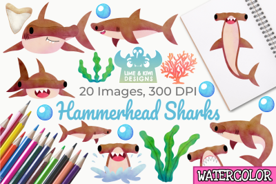 Hammerhead Sharks Watercolor Clipart, Instant Download