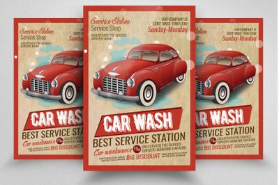 Car Wash Service Station Flyer Template
