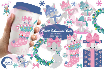 Christmas Cats pastel clipart pack AMB-2666