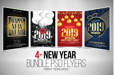4 Happy New Year Flyers Bundle