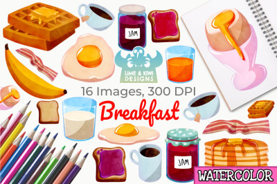 Breakfast Watercolor Clipart, Instant Download Vector Art