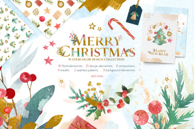 Merry Christmas Watercolor Design Set