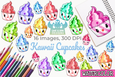 Kawaii Cupcakes Watercolor Clipart, Instant Download