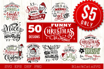 Funny Christmas SVG Bundle 50 designs
