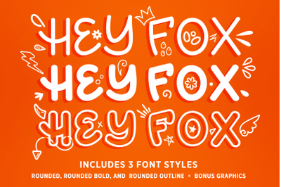 Hey Fox Rounded Font Trio + BONUS