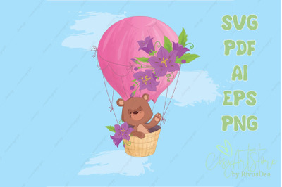 Teddy Bear flying on a Hot Air Balloon SVG background