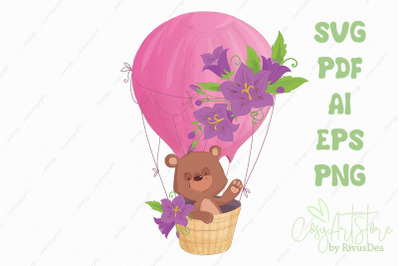 Cute teddy bear flying n a hot air balloon SVG vector clipart