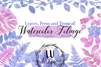 Watercolor Foliage Clipart, Tropical Greenery Leaves