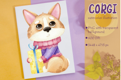 Watercolor illustration with cute dog Corgi with gift