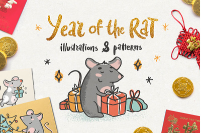 Year of the rat. Illustrations and patterns