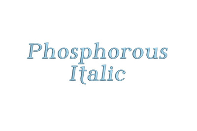 Phosphorous Italic 15 sizes embroidery font