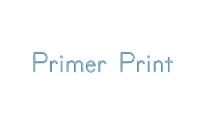 Primer Print 15 sizes embroidery font (RLA)