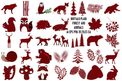 Buffalo Plaid Forest and Animals AI EPS PNG