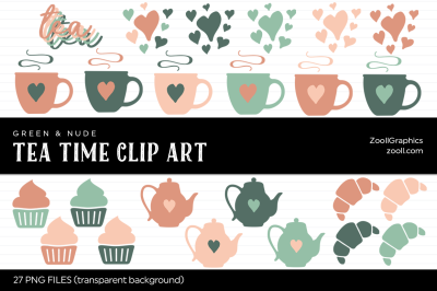 Tea Time Green & Nude Clip Art