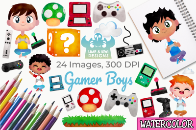 Gamer Boys Watercolor Clipart, Instant Download Vector Art
