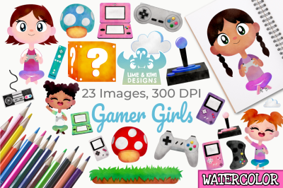 Gamer Girls Watercolor Clipart, Instant Download Vector Art