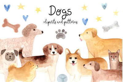 Watercolor Cute Dogs. Patterns and Cliparts