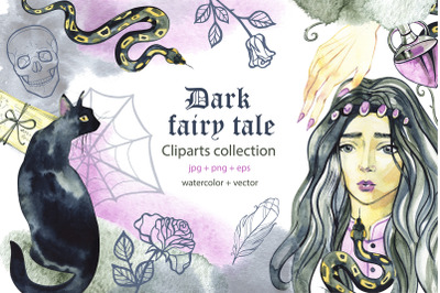 Dark fairy tale. Watercolor cliparts