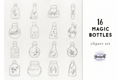 Magical bottles - handdrawn witchcraft, potions, halloween graphics